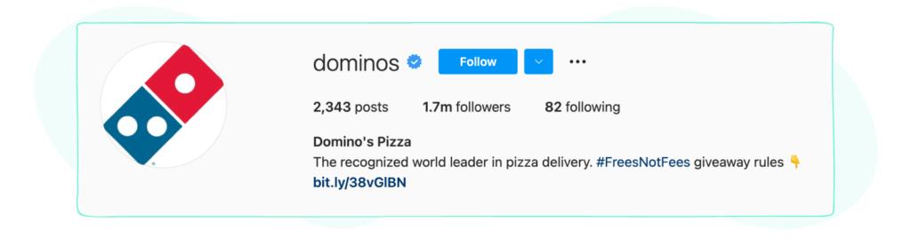Dominos instagram bio
